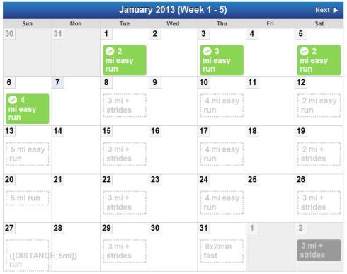 January training plan